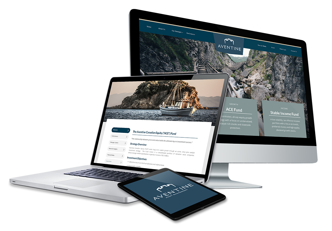 Aventine website design on desktop, laptop and tablet