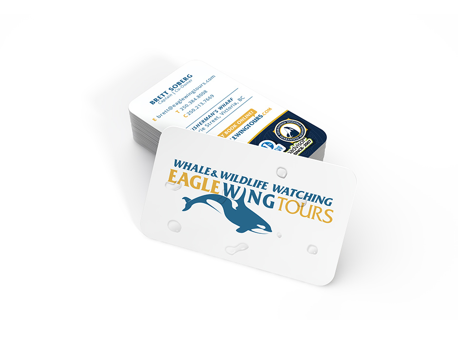 Eagle Wing Tours branding on stack of business cards