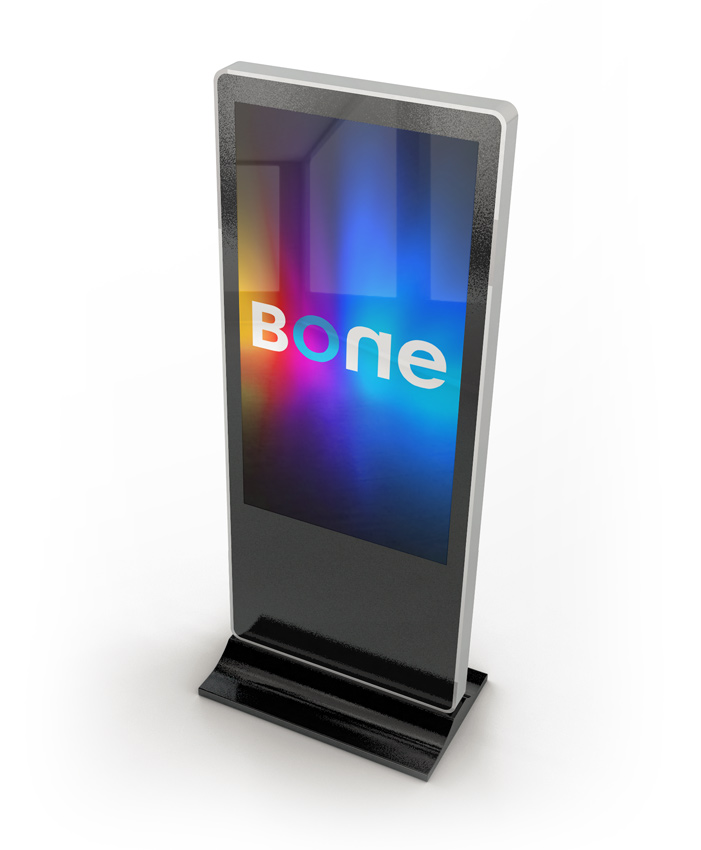 BONE logo on freestanding digital signage screen